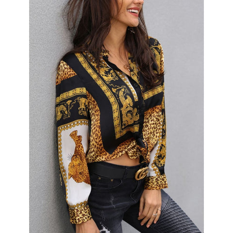 Elegant Party Loose Button Turn-down Leopard Print Knot Front Long Sleeve Top