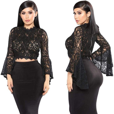 Embroidery Lace Women s Wear Short Long Sleeve Hollow Shirt / business long sleeves night woman