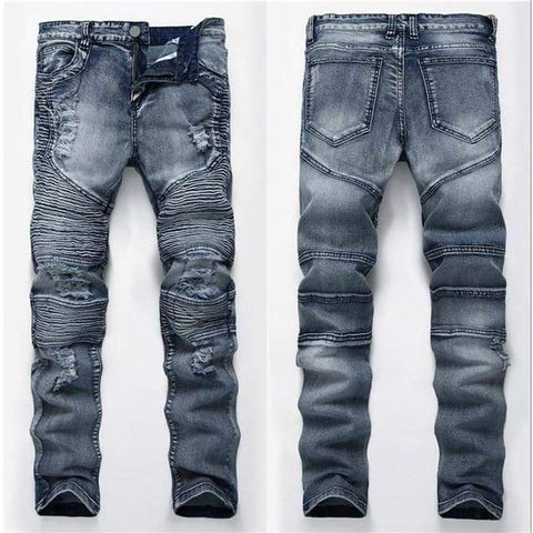 Fashion Patch Mens Retro Knee Hole Zipped Biker Loose Slim Destroyed Torn Ripped Denim Jeans