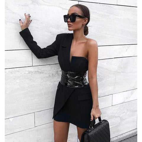 Fashion Sexy Black BCotton One Single Long Sleeve Elegant Celebrity Mini Party Dress with Belt