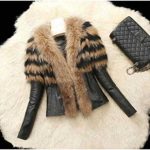 Faux Fur Female Slim Fit PU Leather Fur Fluffy Outerwear Jackets