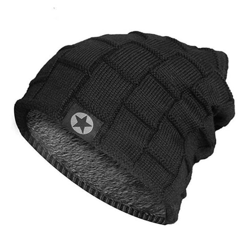 Fleece Lined Knit Wool Warm Winter Thick Soft Stretch Fashion Skullies & Beanie Hat / hats men winter