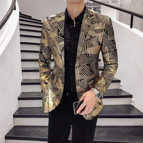 Gold Stripes Print Blazer Masculino Slim Fit Men Hombre Stage Cloth Dj Singer Chaqueta Blazer / blazers men night