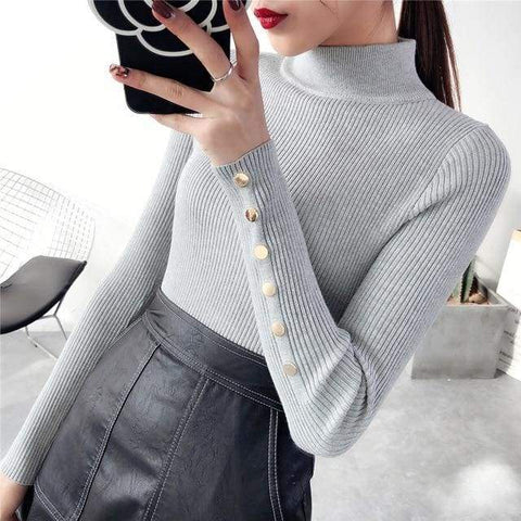 Half Downneck Female Thickening New Winter Slim All-match Elastic Knit Pullovers Sweater