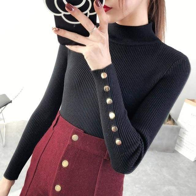Half Downneck Female Thickening New Winter Slim All-match Elastic Knit Pullovers Sweater - Moolokai Apparel