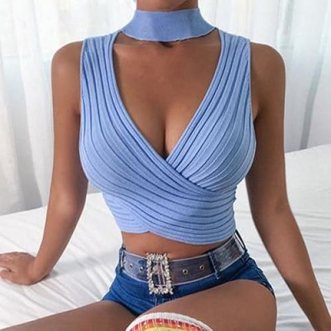 Halter Bandage Sexy Women Hollow Out Elegant Sleeveless Short High Street Party Crop Top