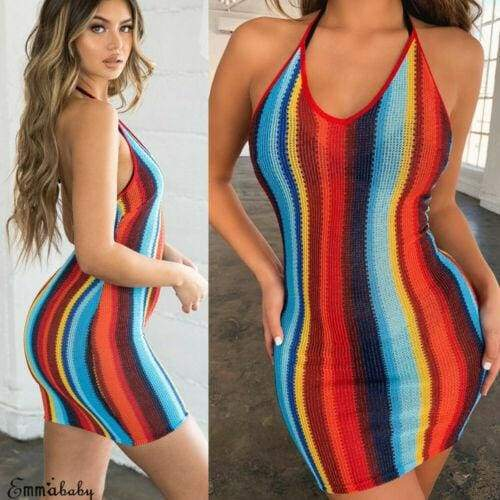 Halterneck Stripe Backless Mini Dress Multi color Bodycon Beach Party Club Wear Sundress / dresses night summer woman