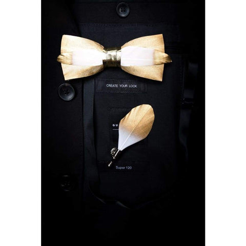 Handmade Feather Bow Tie Brooch Accessories Luxury Bowtie Breastpin Set with Box Best Wedding Gift