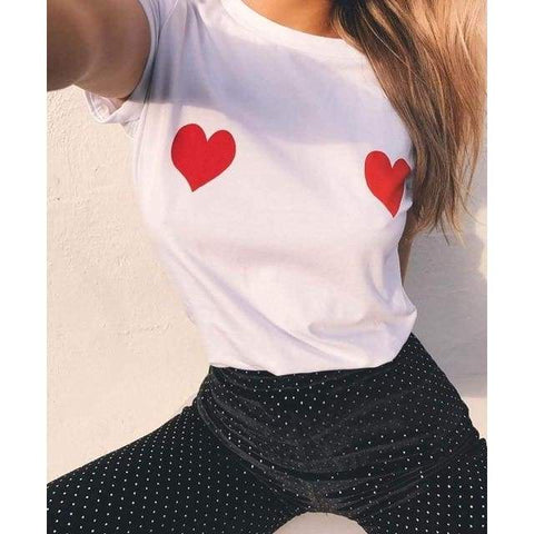 Heart Sexy Women Short Sleeve O Neck Loose Camisetas Mujer T Shirt