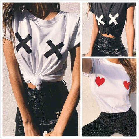 Heart Sexy Women Short Sleeve O Neck Loose Camisetas Mujer T Shirt - Moolokai Apparel