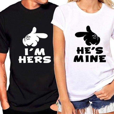 He's Mine I'M Hers Letter Couple O Neck Loose Lovers Short Sleeve T Shirt - Moolokai Apparel