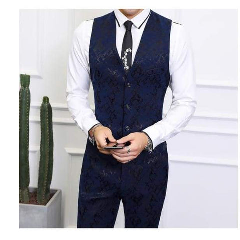 High-end Men Business Banquet Wedding Jacket with Vest and Trousers Suit