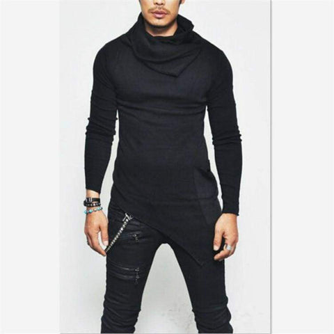 High-necked Irregular Design Male Sweater Solid Color Casual Pullover Sweater - Moolokai Apparel