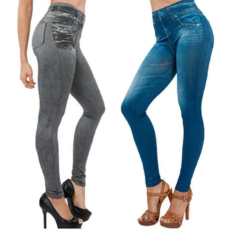 Hot blast pockets short velvet body slim hip denim leggings