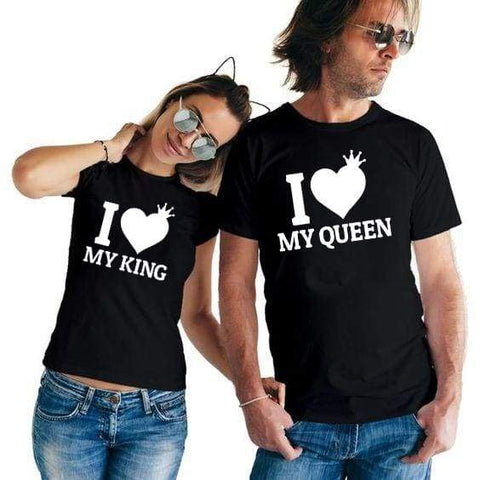 I Love My King I Love My Queen Couple King & Queen Matching Couples T Shirt - Moolokai Apparel