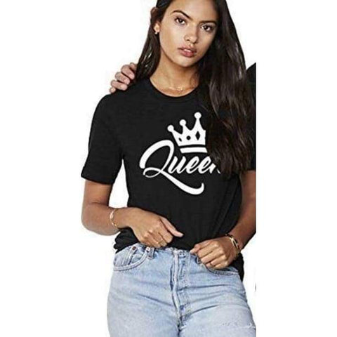 King & Queen Couples T Shirt Crown O-neck Tops Lovers Tee Shirt