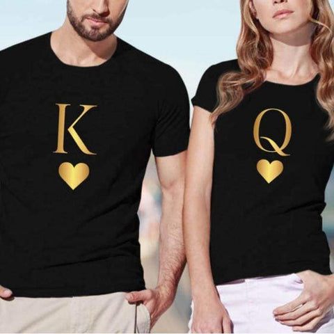 King Queen Letter Heart Print Lovers Casual Short Sleeve O Neck Loose Tees - Moolokai Apparel