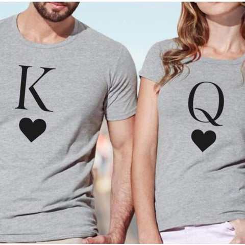 King Queen Letter Heart Print Lovers Casual Short Sleeve O Neck Loose Tees