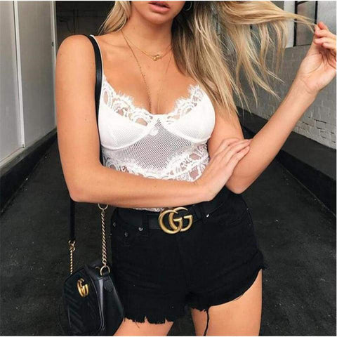 Lace Body Sexy Sling V-Neck Sleeveless Backless Solid Color Ladies Slim Streetwear Bodysuits