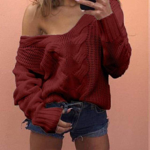 Lady V-neck Casual Solid Loose Long Sleeve Tops Slim Fit Knitted Pullover Autumn Sexy Sweater