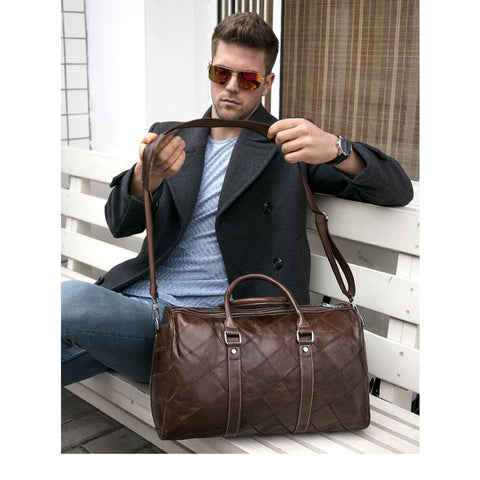 Leather Duffle Bag Men's Travel Leather Vintage Weekend Luggage/Overnight Tote