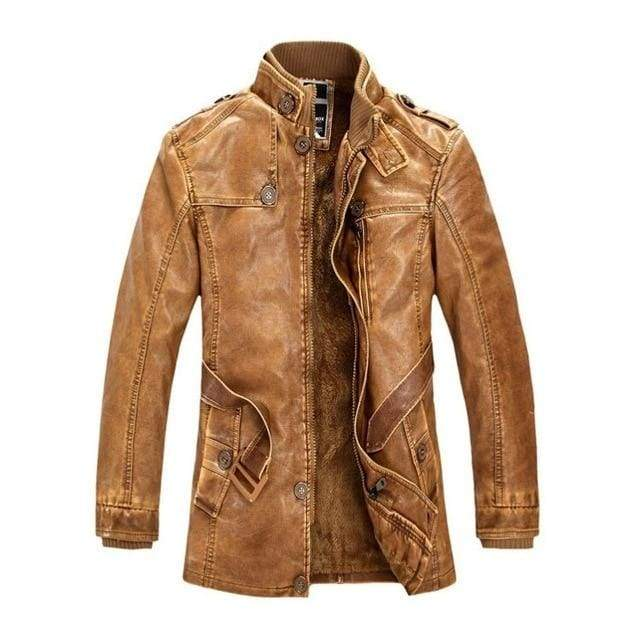Leather Suede Fleece Lined Motorcycle Faux Leather Male Jackets - Moolokai Apparel
