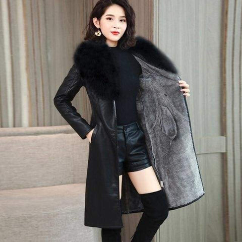 Leather Winter Velvet Warm Slim Fur Collar Long Leather Female Outerwear Coat - Moolokai Apparel