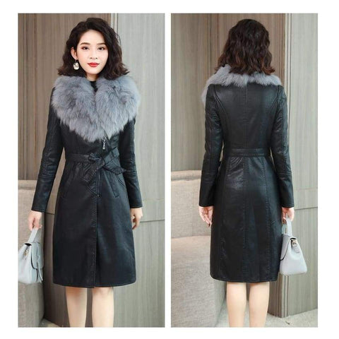 Leather Winter Velvet Warm Slim Fur Collar Long Leather Female Outerwear Coat