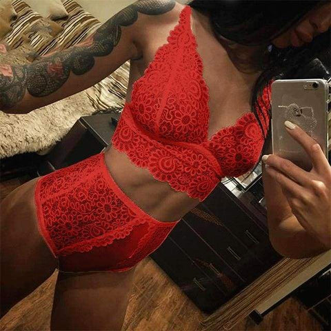 Lenceria Femenina Sexy Transparent Lace V Neck Solid Color Women Bra And Panty Lingerie Set