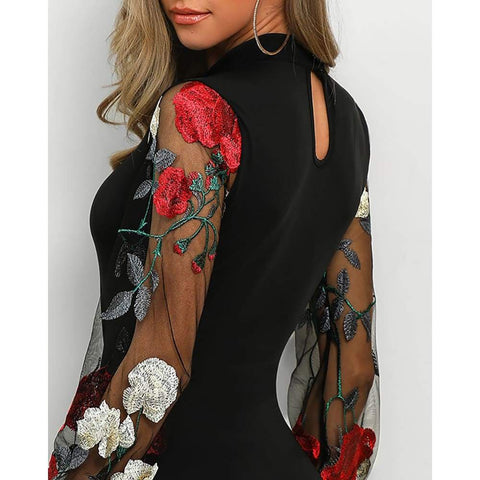 Long Floral Mesh Sleeve Sexy Bodycon Office Party Sexy Embroidered Slim Mini Dress