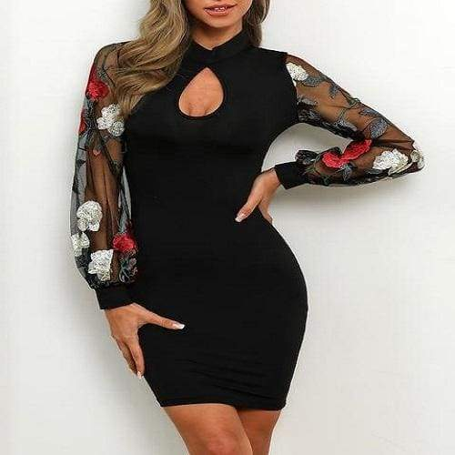 Long Floral Mesh Sleeve Sexy Bodycon Office Party Sexy Embroidered Slim Mini Dress - Moolokai Apparel