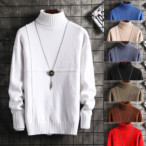 Men's Knit Lapel Long Sleeve Turtleneck Solid Color Regular High Neck Sweater - Moolokai Apparel