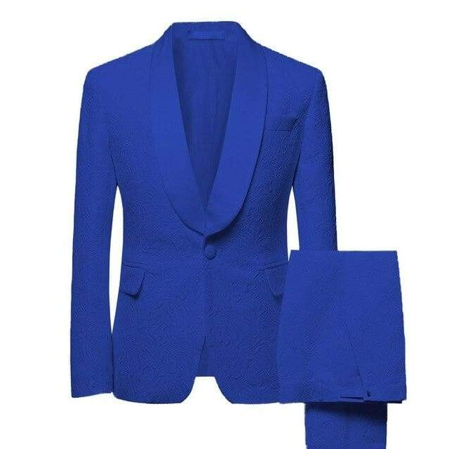 Mens Shawl Collar 2 Pieces Slim Fit Groom Jacket Tuxedos Wedding (Blazer+Pants+Tie) Suit - Moolokai Apparel