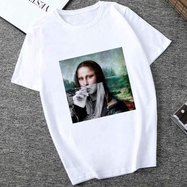 Mona Lisa Spoof Personality Women Fashion Summer Short Sleeve O-neck White Tees - Moolokai Apparel