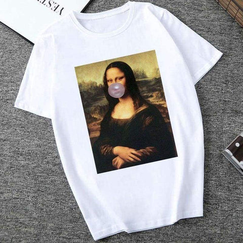 Mona Lisa Spoof Personality Women Fashion Summer Short Sleeve O-neck White Tees