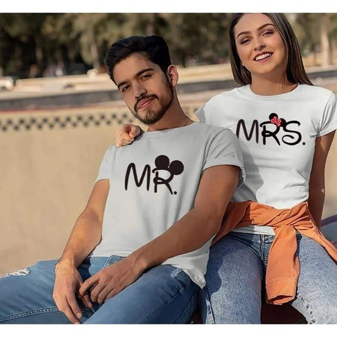 Mr Mrs couple T shirt for Lovers Husband Wife Clothes Matching Clothes Women Letter Love - Moolokai Apparel