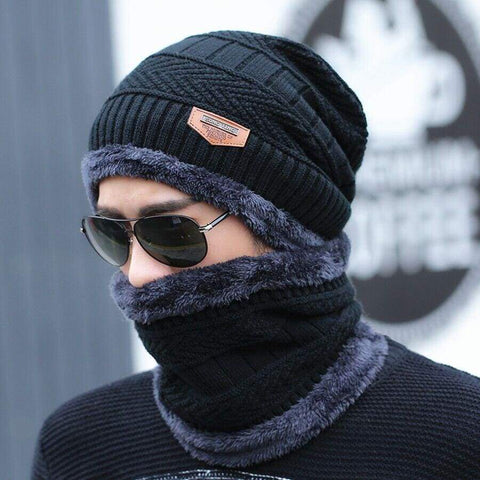 Neck Warmer Winter Knit Cap Scarf Winter Beanie Skullies Hat / hats men winter
