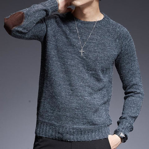 O-Neck Slim Fit Jumper Knitting Solid Color Autumn Style Casual Mens Sweater - Moolokai Apparel