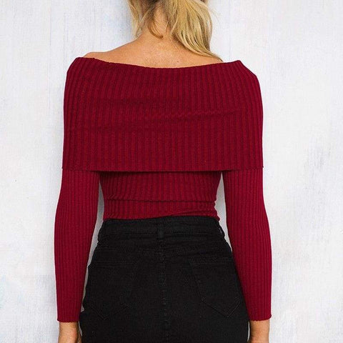 Off Shoulder Knitted Women Winter Slim Oversized Pullovers Autumn Jumper Femme Sweater