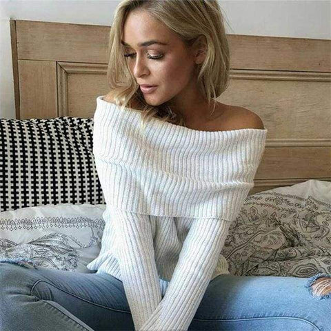 Off Shoulder Knitted Women Winter Slim Oversized Pullovers Autumn Jumper Femme Sweater - Moolokai Apparel