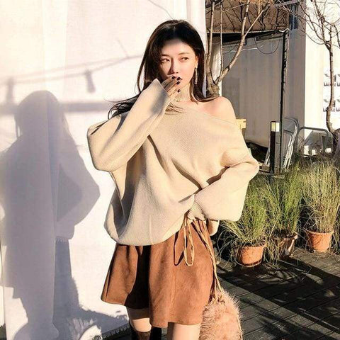 Off Shoulder Pullover Women Autumn and Winter New Irregular Solid Color Knit Top Sweater