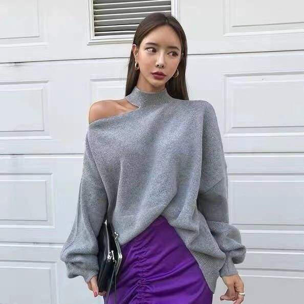 Off Shoulder Pullover Women Autumn and Winter New Irregular Solid Color Knit Top Sweater / sweaters winter woman