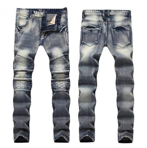 Patch Men Retro Knee Hole Zipped Biker Loose Slim Destroyed Torn Ripped Denim Jeans - Moolokai Apparel