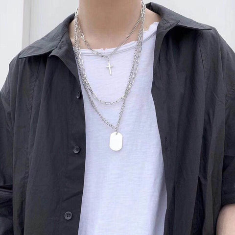Personality Cross Square Metal Multilayer Hip hop Long Chain Cool Simple Necklace For Women / Men