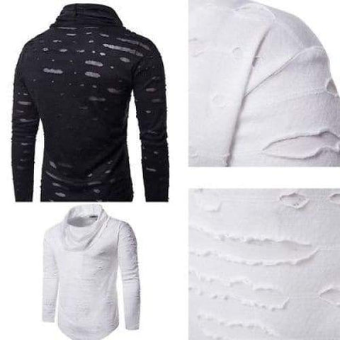 Personality Ripped Hole Nightclub Long Sleeve Turtleneck Casual Tee Swag Clothes / fall long sleeves men night