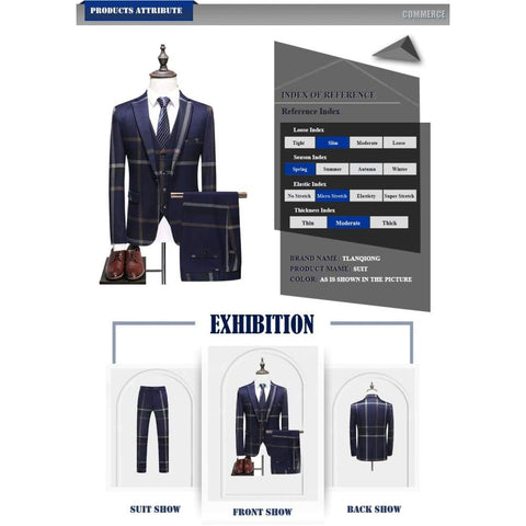 Plaid Single Breasted Casual Men's Wedding Suit