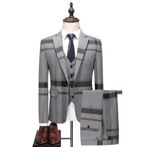 Plaid Single Breasted Casual Mens Wedding Suit / business men suits