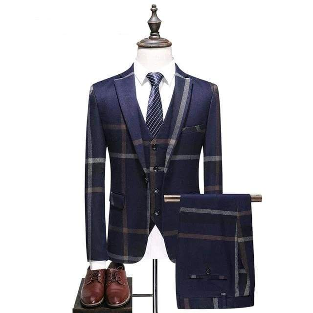 Plaid Single Breasted Casual Men's Wedding Suit - Moolokai Apparel