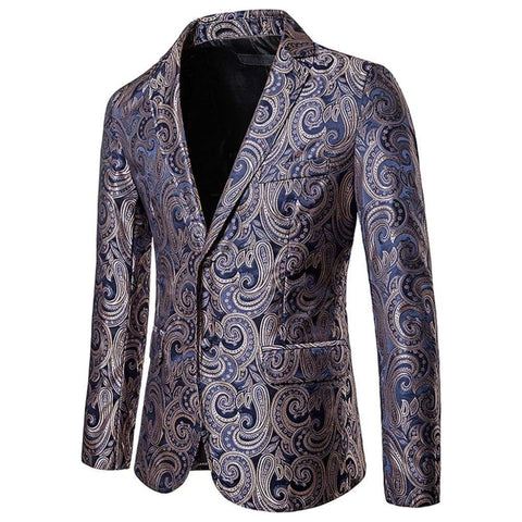 Printed Men Slim Jacket Vintage Fashion Luxury Formal wedding Dress Stage Costumes Blazer