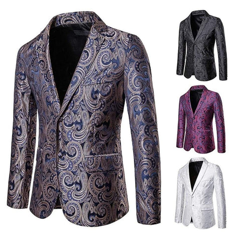 Printed Men Slim Jacket Vintage Fashion Luxury Formal wedding Dress Stage Costumes Blazer / blazers men night